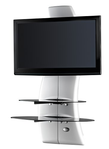 Meliconi GHOST DESIGN 2000 ROTATION Parete Attrezzata con Supporto TV, Doppio Braccio Orientabile, Mensole in Vetro Temperato, per TV da 32 a 63, Bianco