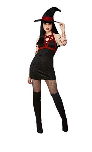 Smiffys Witch Costume Disfraz de bruja satánica Fever, color negro, XS-UK Size 04-06 (11957XS)