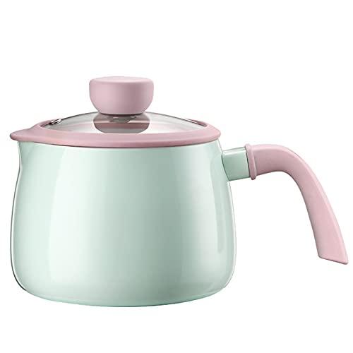 1.7l Cocina de inducción Sopa de cocción COCURAR Cuenco de fideos instantáneos con tapa transparente Mini esmalte Normal Normal Pequeño Café Pot (Color : Light Green, Sheet Size : 13cm)