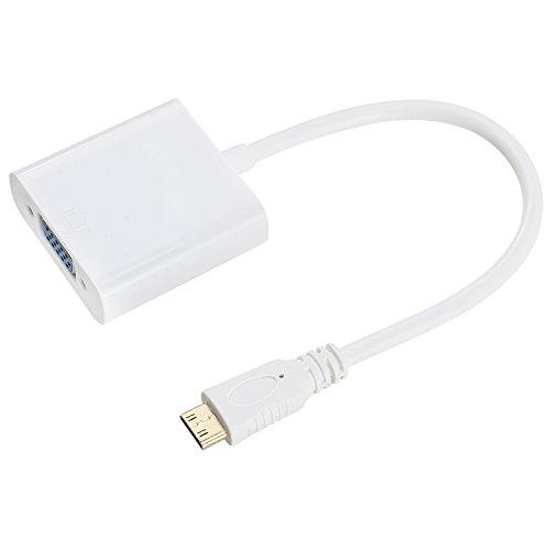 Incutex 1080p Full HD Mini HDMI auf VGA Adapter mini HDMI VGA Konverter Adapter / Konverterkabel, vergoldete Kontakte, weiß