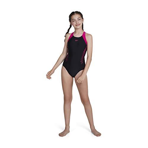 Speedo Mädchen Swimwear Boom Splice Muscleback, Black/Electric Pink, 140, 8-10844B344