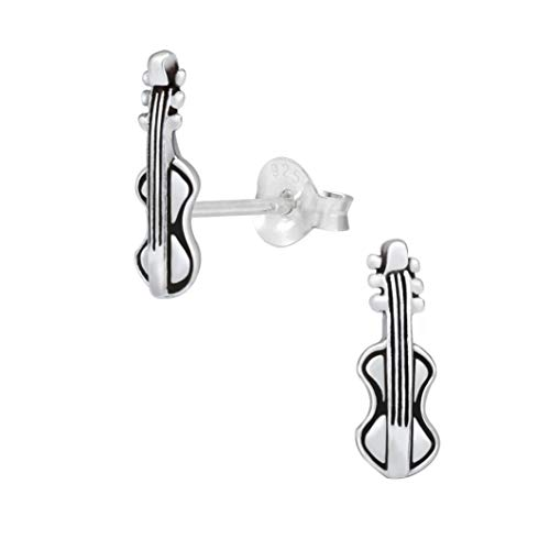 Laimons Damen-Ohrstecker Geige Violine 4x12mm oxidiert aus Sterling Silber 925