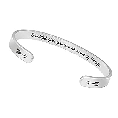 BTYSUN Inspirational Bracelets for Girls Women Gifts for Teen Girl Friendship Bracelet Mantra Jewelry with Gift Box (Beautiful Girl You can do Amazing Things)