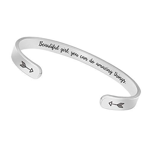 BTYSUN Inspirational Bracelets for Women Teen Girl Gifts for Teenage Girls Friendship Bracelets Mantra Jewelry Cuff Bracelet(Beautiful Girl You can do Amazing Things)