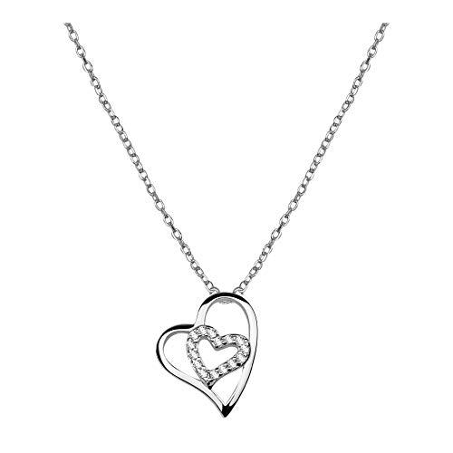 SOFIA MILANI - Damen Halskette 925 Silber - mit Zirkonia Steinen - Doppel Herz Anhänger - 50018