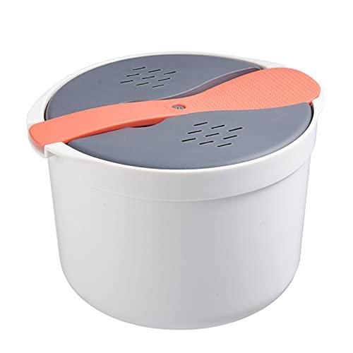 YILING Cuociriso da 2 l per microonde, cottura a vapore, utensile da cucina multifunzione con coperchio e cucchiaio da riso, per cucinare a casa (24,5 × 19,7 × 16,5 cm)