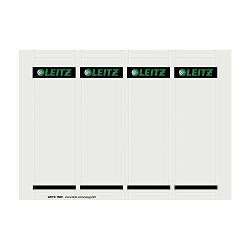 Leitz PC-beschriftbare Rückenschilder für Leitz Qualitäts-Ordner 1010, kurz, breit, zum Einstecken, grau, 16800085
