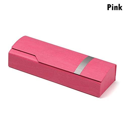 Boner 1PCS Unisex draagbare glazen doos Mode rechthoek leesbrillen Zonnebrillen beschermhoes Brillenbeschermer, roze