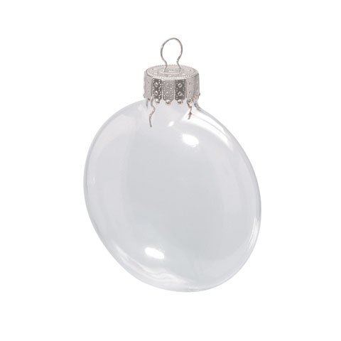 Darice 2.6 Inches Clear Disc Glass Ornaments - Pack of 12