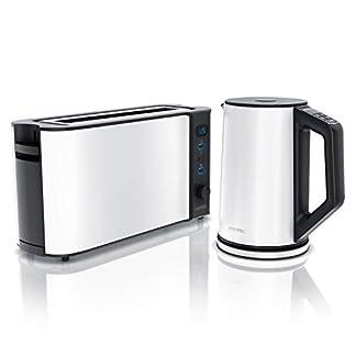 Arendo-Edelstahl-Wasserkocher-mit-Temperaturstufen-15L-und-Langschlitz-Toaster-fuer-2-Scheiben-Toast-und-Broetchenaufsatz-Weiss