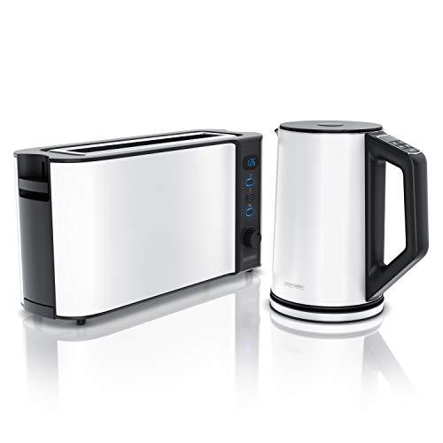 Arendo - Hervidor de agua de acero inoxidable con niveles de temperatura de 1,5 L y tostadora de ranura larga para 2 rebanadas de tostadas y panecillos, color blanco.