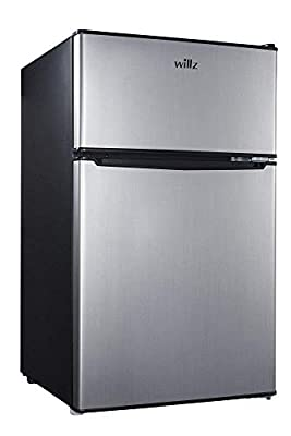 Willz WLR31TS1 Compact Refrigerator Dual Door Fridge with Adjustable Thermostat Control True Freezer, 3.1 Cu Ft Stainless Steel Look