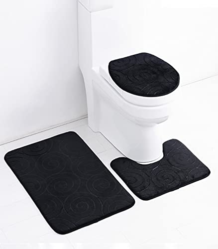 Bath Rug Mat Luxury 3-Piece ,Piece Bathroom Rug Set, Non-Slip Absorbent Embossed Memory Foam Set,Soft Thick Comfortable Bathroom Rug/U-Shaped Contour Rug/Toilet Lid Cover Shell (Black)