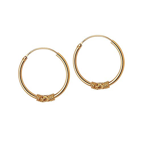 Gold Plated Bali Hoop Earrings Jangan