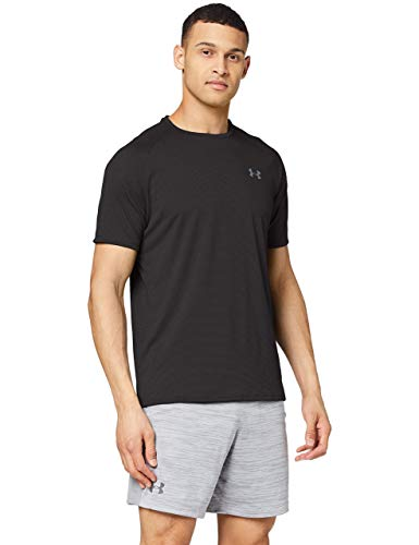 Under Armour UA Tech 2.0 SS Tee Novelty, camiseta para gimnasio, camiseta transpirable hombre, Negro (Black/Pitch Gray (001)), M