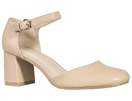 Greatonu Zapatos de Tacón Cuadrado Elegante Comodido Color Carne con Tira del Tobillo para Trabajo para Mujer Talla 39 EU