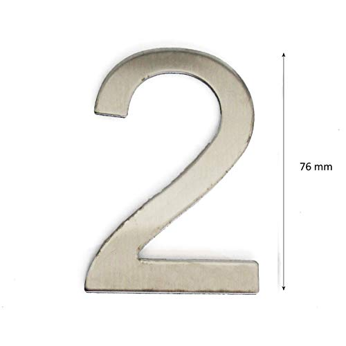Número de la calle, número de la puerta o número de la casa, en la cifra 2, de acero inoxidable Plata brillante, con soporte adhesivo, de 76 mm de altura (2)