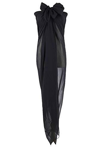 PB-SOAR XXL Damen Einfarbig Sarong Pareo Strandtuch Wickeltuch Bikini Cover up Wickelrock Multifunktions, Weich und Leicht (Schwarz)