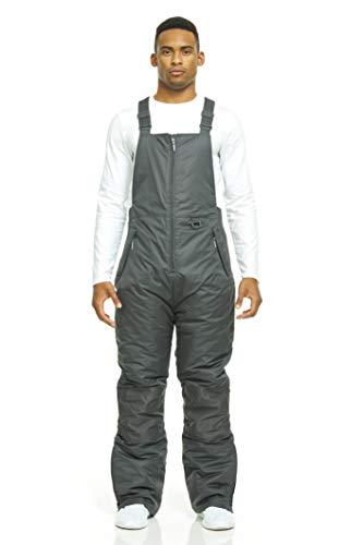 Arctic Quest Men' Insulated Ski and Snow Bib Overalls, Water Resistant Outdoor Jumpsuit - Dark Grey, XXL