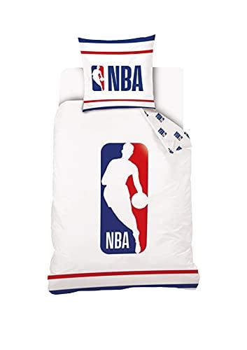 NBA – Funda nórdica con Licencia Oficial de Basket-Ball – 140 x 200 + 1 Funda de Almohada de 63 x 63 cm – Juego de Cama Individual – Reversible – Blanco/Azul/Rojo – 100% algodón