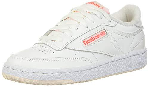 Reebok womens Club C Sneaker, White/Ceramic Pink/Orange Flare, 9 US
