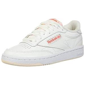 Reebok womens Club C Sneaker, White/Ceramic Pink/Orange Flare, 7.5 US