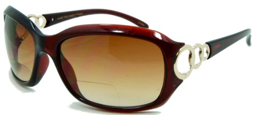 In Style Eyes Circle Power, Nearly Invisible Line Bifocal Sunglasses/Brown 3.00