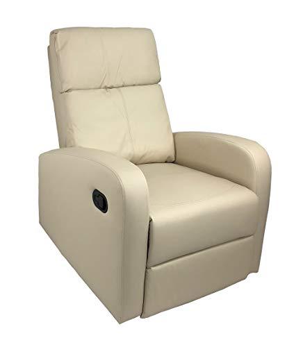 Totò Piccinni Poltrona Relax Reclinabile con Poggiapiedi Imbottita Confortevole (Manuale, Ecopelle Panna)