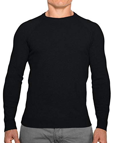 CC Perfect Slim Fit Crewneck Sweaters for Men | Lightweight Breathable Mens Sweater | Soft Fitted Pullover for Men Black