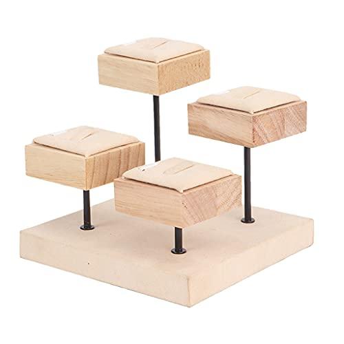 oshhni Soporte de exhibición de joyería de madera Organizador Bandeja de estante Apoyos fotográficos de cuatro capas para anillos Almacenamiento de