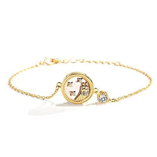 Pulsera de plata de ley 925 para mujer con 12 horóscopo zodiaco astrología constelación joyas