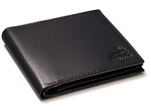 Fa.Volmer ® Herren Ledergeldbörse aus echtem Leder Querformat #VO11 (Typ1 Schwarz)
