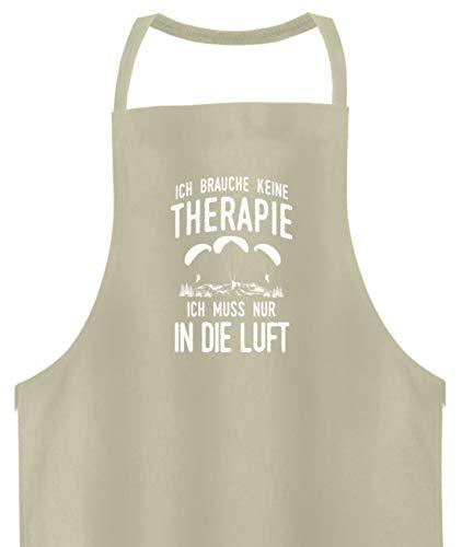 shirt-o-magic Paragliding: Therapie? Lieber Gleitschirmfliegen - Hochwertige Grillschürze -Einheitsgröße-Beige