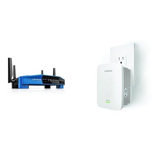 Linksys WRT AC3200 Open Source Dual-Band Gigabit Smart Wireless Router (WRT3200ACM) with Linksys AC1900 Gigabit Range Extender (RE7000) Bundle