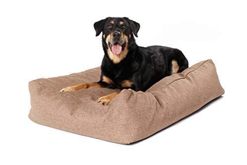 Woofery – Hundebett Hundekissen Timon – rutschfest mit Reißverschluss XL 100 x 70 cm Cognac