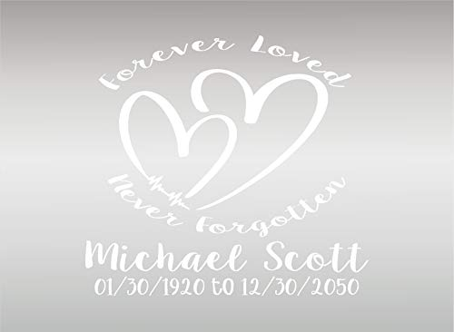 BSG Forever Loved in Loving Memory Personalized Decal Sticker/Vinyl Custom Vehicle Decal/Remembrance Sticker (White)