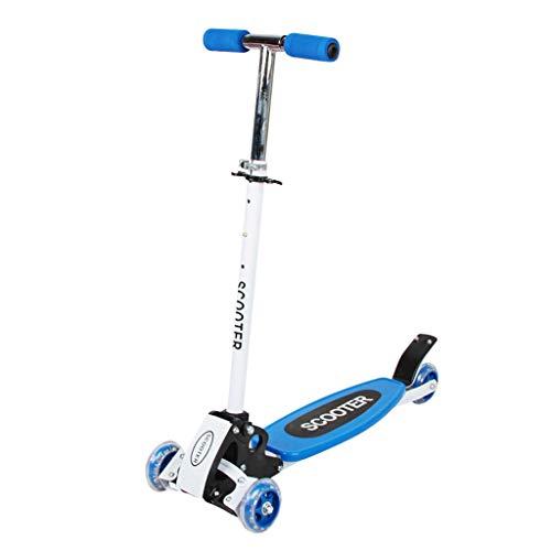Patinete de Tres Ruedas para Niños de 3 a 12 Años, Scooter de hierro puede levantar el coche plegable para niños scooter de cuatro ruedas, Diseño Plegable, Manillar Ajustable, Peso Ligero (Azul)