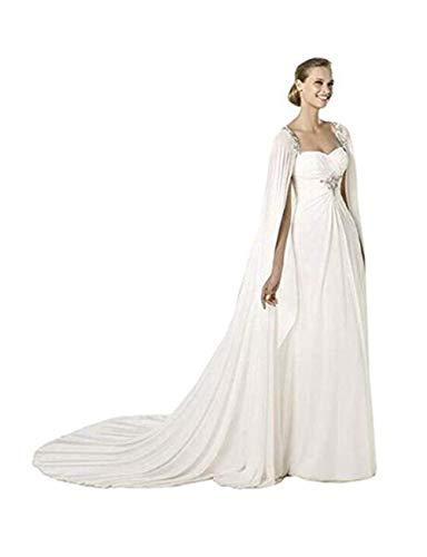 Chaqueta nupcial del mantón de la boda de la gasa de las mujeres de los 200CM Bolero capa (Blanco)