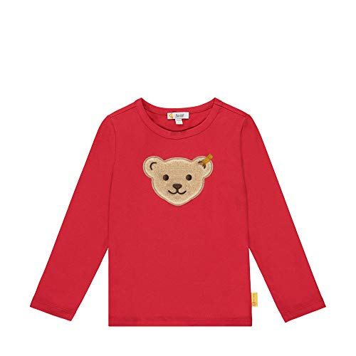 Steiff Mädchen mit süßer Teddybärapplikation T-Shirt Langarm, Rot (Tango RED 4008), 098