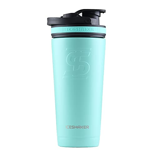 Ice Shaker Stainless Steel Insulated Water Bottle Protein Mixing Cup (As seen on Shark Tank)   Gronk Shaker   (Mint 26 oz)