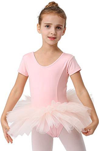 MORSTANE Girls Ballet Leotard Tutu for Dance Toddler Ballerina Dress Outfit Custumes Short Sleeve (Ballet Pink, Age 4-6)