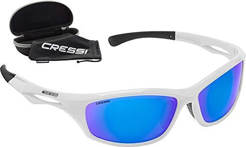 Cressi Sniper Sunglasses Gafas de Sol Deportivo, Adultos Unisex, Blanco/Lentes Espejadas Azul, Talla única