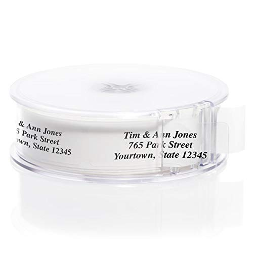 Clear Rolled Address Labels with Elegant Dispenser - Roll of 250