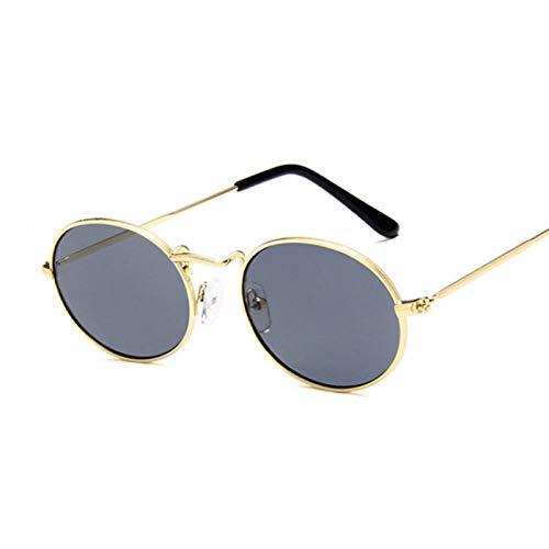 Astemdhj Gafas de Sol Sunglasses Gafas De Sol Retro Ovaladas para Mujer, Diseñador De Lujo, Vintage, Pequeño, Negro, Rojo, Amarillo, Gafas De Sol para Mujer, Uv400 GoldgrayAnti-UV