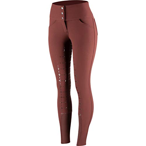 horze Desiree Silicone Full Seat Womens Riding Breeches UK 16 Reg Rum Raisin