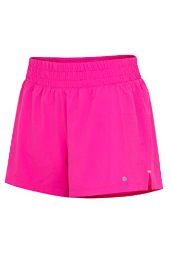 Layer 8 Women's Knit and Woven Quick Dry Two in One Running Yoga Work Out Short with Compression Shorts Underneath (Medium, Pink-Woven)