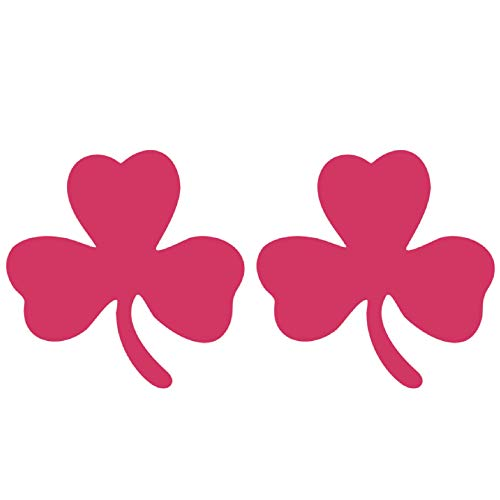CUSHYSTORE 2.5' Clover 3-Leaf Shamrock Safety Reflective Decals Vinyl Sticker for Car Hardhat Phone Laptop Pink, 2 Pack