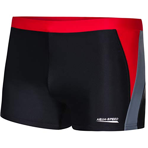 Aqua Speed Herren Badehose eng | Sport Schwimmhose für Männer Erwachsene | Training mit UV-Schutz | Beachwear schwarz I Swim Pants Men I Wassersport I Dario, Gr. XXL, Black/Grey/red