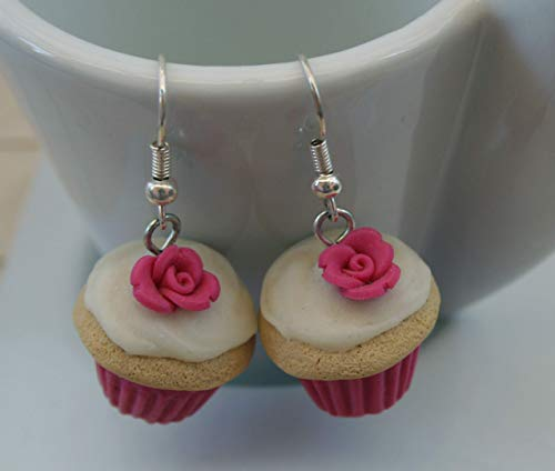 Orecchini Cupcake Fuxia in FIMO Fosforescente Kawaii Cute Earrings Pink Jewerl Handmade Polymer clay Glowing in the dark Handmade by Coffoland