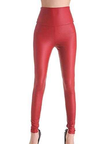 Gladiolus Pantalón Símil Cuero Mujer Cintura Alta Leggings Cuero PU Pantalon Treggings Leggins